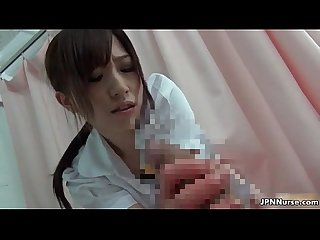 Sexy asian nurse sucks on a cock