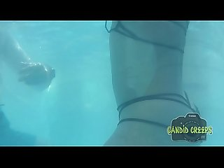 Hidden camera at the pool creepshots underwater ass grab sexy bikini