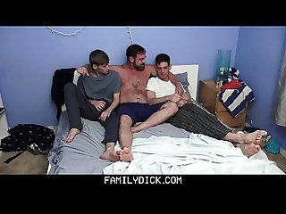 FamilyDick - Muscular Stepdad Seduces And Fucks His Gorgeous Stepsons