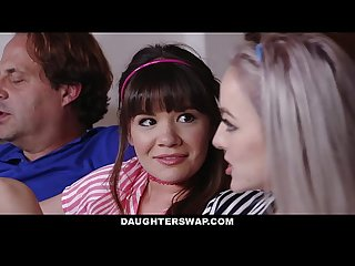 DaughterSwap - Teens fuck dads best friend during movie