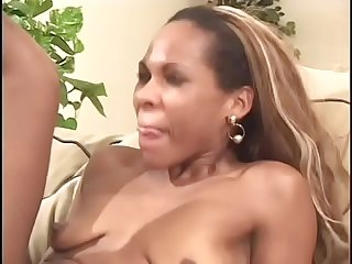 Black stud with dread locks fucks light skinned ebony slut Brazilya's shaved pussy