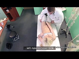 Natural blonde patient bangs doctor