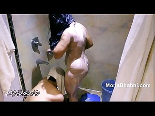 milf desi bhabhi sucking big cock giving blowjob while taking shower