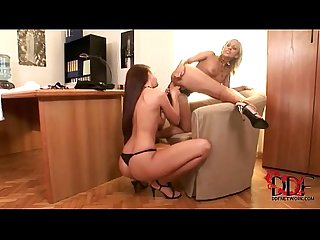 Hot babes Candy and jane enjoy Lesbian Sex at the office