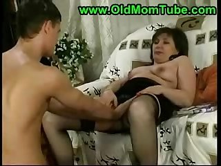 brunette mom and son