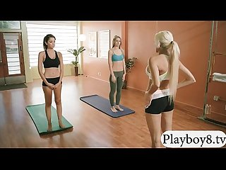 Three naked big tits babes yoga session with busty trainer