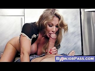 Playful busty MILF shows off amazing cock sucking skills