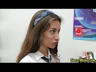 Uniformed slut face spunk