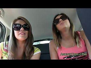 Two amateur girls sucking big cock
