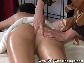 Big tit masseuse fingers client tight butt