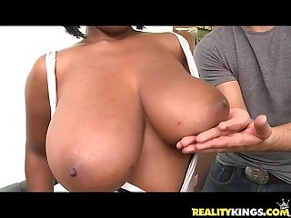 Stacey adams bares her massive titties and gets pummeled by voodoo S Cock