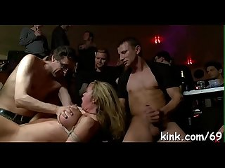 Sexy girl dominated, bound and fucked by shady club owner