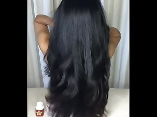 Brunette long hair play