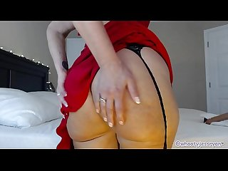 Mature camgirl in sexy red dress and stockings