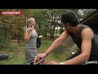 Letsdoeit mature french blonde gets ass drilled by a stranger outdoor