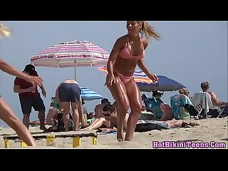 Sexy fit blonde teen big ass spycam voyeur beach