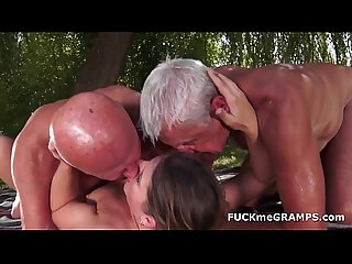 two horny old men fucked by young babe