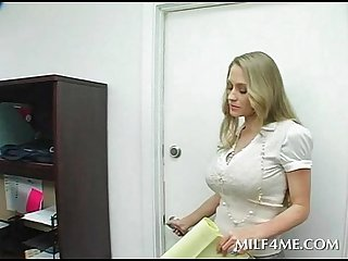 Busty mom bent over the desk and fucked