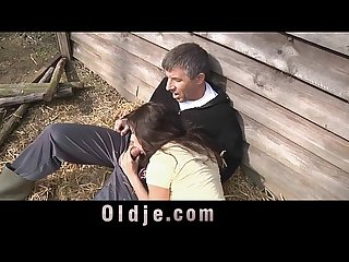 Slutty countryside girl sucking and fucking farmer s dick