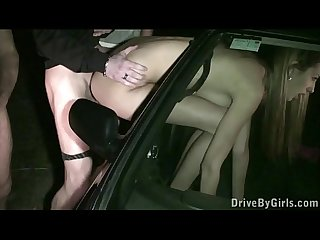 Facial cum through a car window on a hot blonde girl in public street gang bang