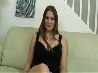 Casting interview and audition creampie sex of busty big boobs babe on couch