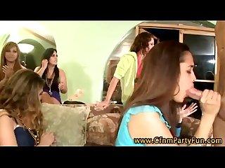 Cfnm amateur party girl sucks stripper cock facial
