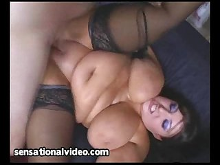 Curvy bbw gets tits oiled and tight pussy fucked