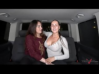 Wild foursome in driving van with Mea Melone & Wendy Moon ends with cum on ass