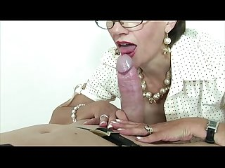 Nasty mature femdom slut sucks dick