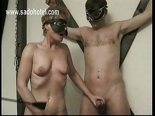 Older slave jerks off other slave while playing with her own pussy she gets spanked on her ass