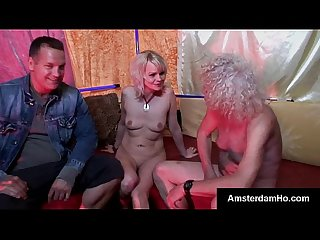 Dirty blonde dutch skank takes two big dicks at the same time