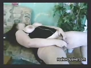 Busty hairy girl plays with vib and hubby