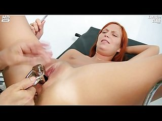 Redhead girl pussy examination by kinky gyno doctor