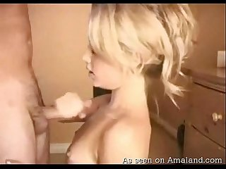 Blondie gives head and gets jizzed on