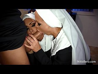 Busty nuns nikki jessica fuck the priest in church
