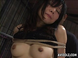 Asian babes get fingered in bondage
