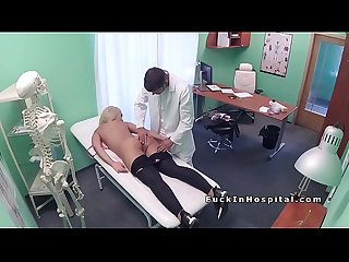 Big boobs blonde got back massage from her doctor