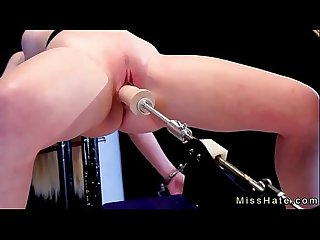 Blonde in device bondage spanked and fucks machine