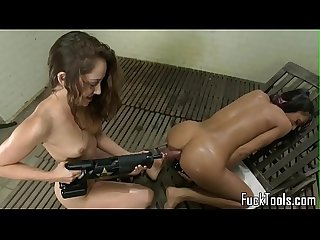 Toy loving les gets drilled in Ass and pussy