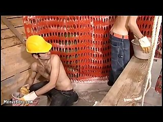 Steamy old young gay sex at a construction site
