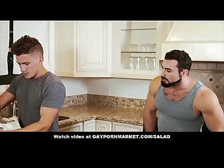 Straight guy caught by wife fucking hunk in the kitchen