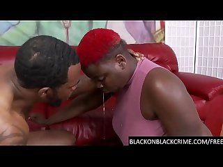 BBC rough deep throats a black BBW