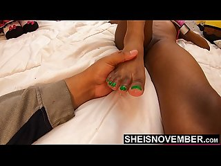4K Msnovember Little Cute Tiny Black Toes Pushed Into Your Mouth For Rough Sucking While She..