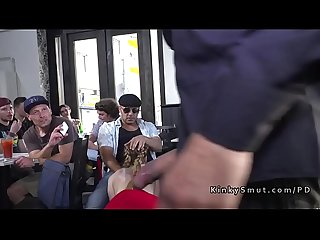 Busty slave getting fucked and pissed in public