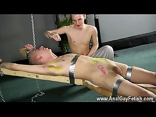Big cock young Gay porno dean gets tickled comma super Hot wax poured over