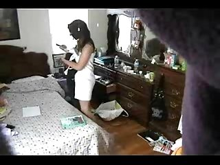 Enjoy my sister totally naked in her bed room. Hidden cam