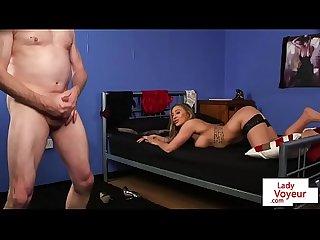 Voyeur British babe talks dirty during JOI