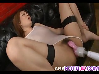 Rei gets cum on face after is aroused and fucked with vibrators