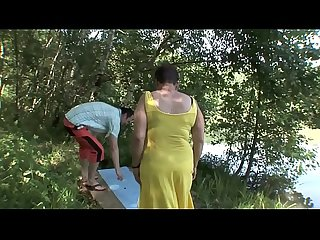 Mature couple outdoor sex