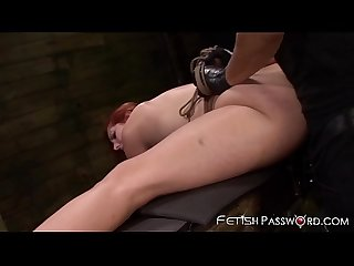 Redhead sub Rose Red gaped in anal dungeon before facial